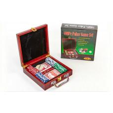 Набор для покера в деревянном кейсе на 100 фишек IG-6641