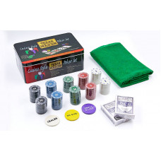 Покерный набор в металлической коробке-200 фишек IG-1104215