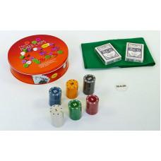 Покерный набор в круглой металлической коробке-120 фишек IG-6617
