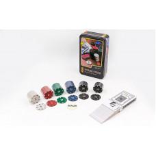 Покерный набор в металлической коробке-80 фишек IG-4590