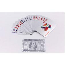 Игральные карты серебряные IG-4566-S SILVER 100 DOLLAR