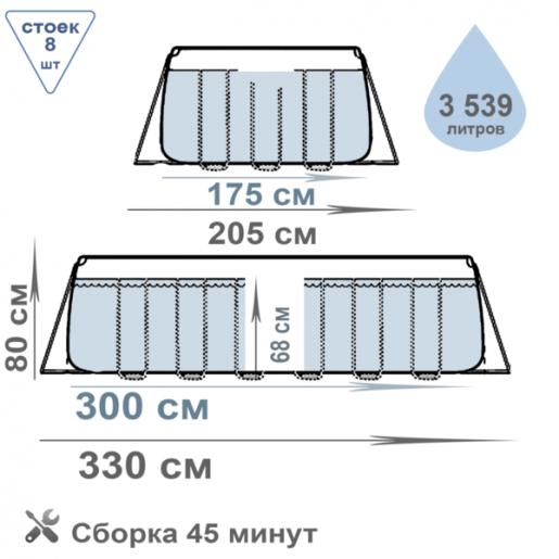 Каркасный бассейн 300x175x80см