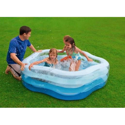 Детский бассейн с надувным дном 185x180x53см, 466Л