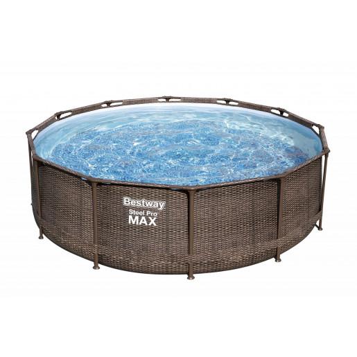 "Каркасный бассейн Steel Pro Max 366х100см ""Ротанг"" 9150л, фил.-насос 2006л/ч, лестница"