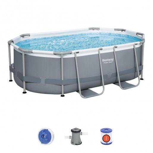 Каркасный бассейн Power Steel 305х200х84см, 3668л, фильтр-насос 1249л/ч, поплавок-дозатор