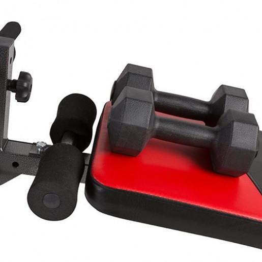 Скамейка атлетическая изогнутая S122, гантели, эспандер.