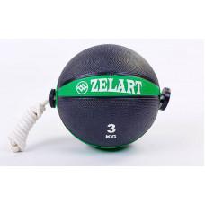 Мяч медицинский 3кг (медбол) с веревкой FI-5709-3