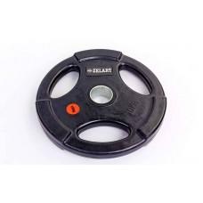 Блины (диски) 10 кг обрезиненные с тройным хватом и металлической втулкой d-51мм Z-HIT TA-5160-10