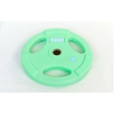 Блины (диски) 10 кг полиуретановые с хватом и металлической втулкой d-28мм TA-5336-28-10